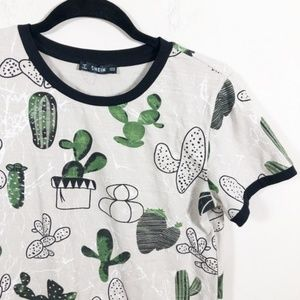 Shein Cacti Marble Ringer Graphic Tee M